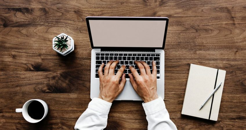 Working on computer desk